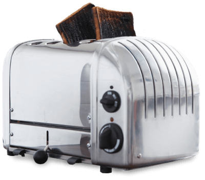 Toaster with burnt toast.