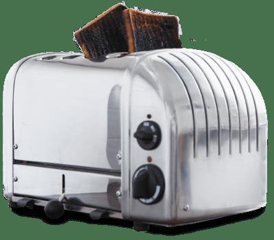 Toaster with burnt toast.